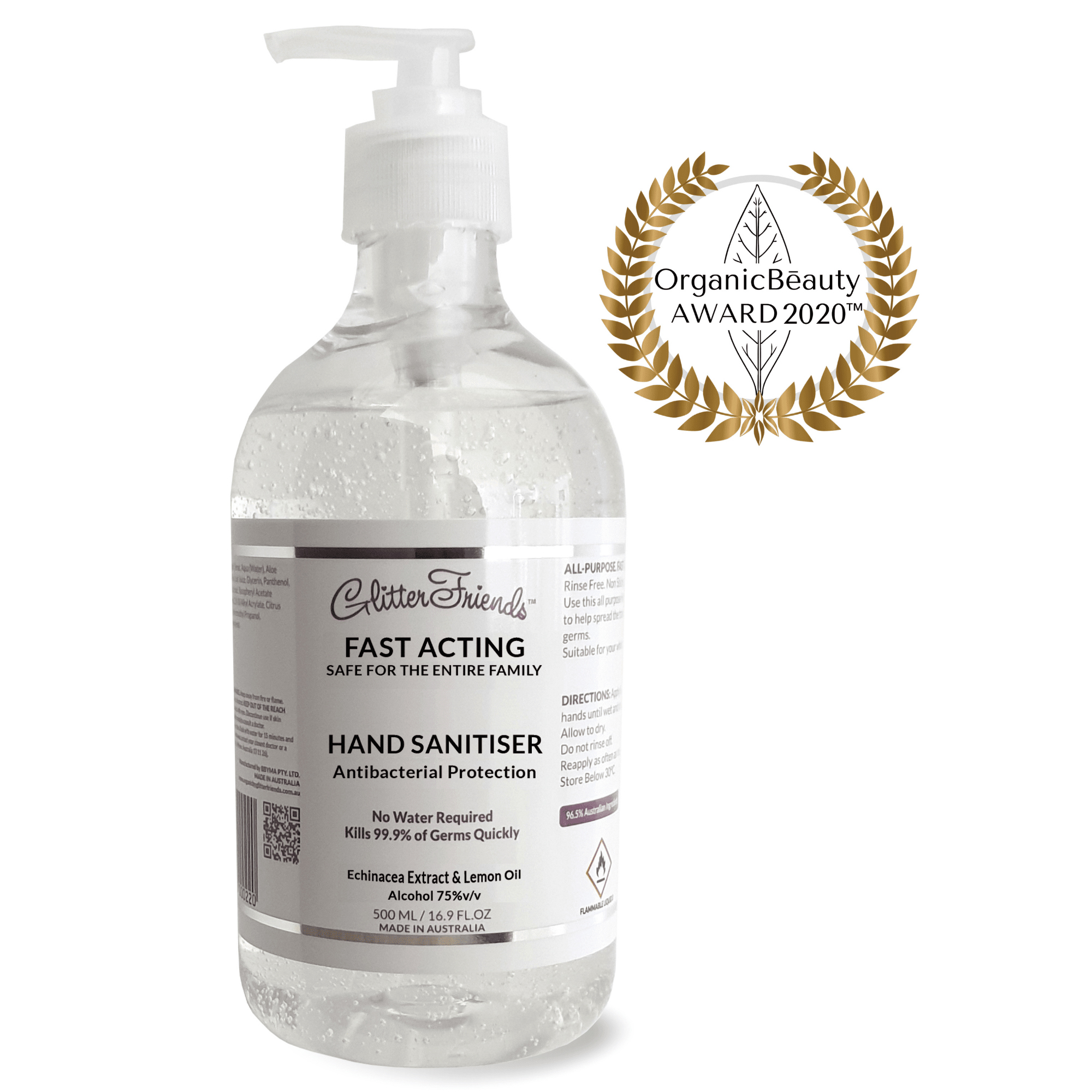 Hand sanitiser Gold Winner Beauty Award 2020 made in Australia from 96.5% Australian Ingredients