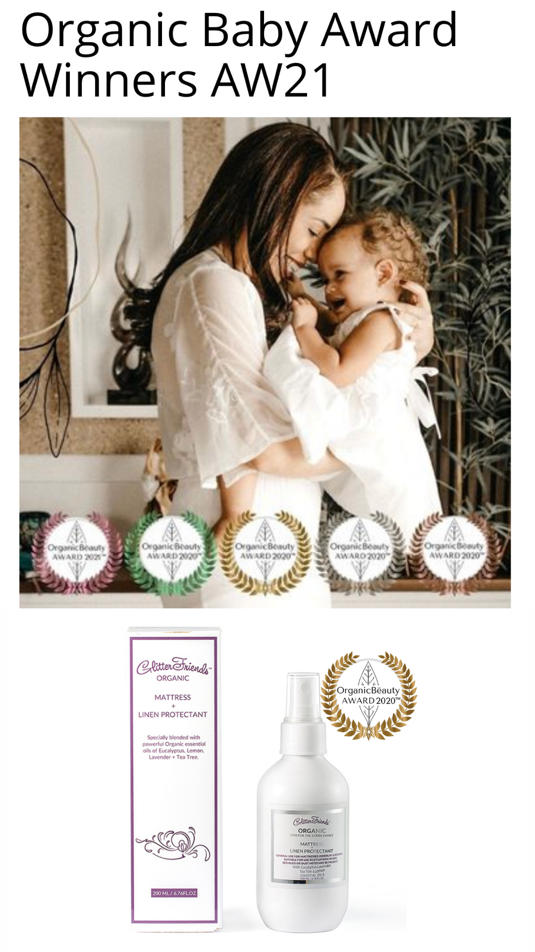 Mother kissing and cuddling her baby. Gold wreath product award beneath