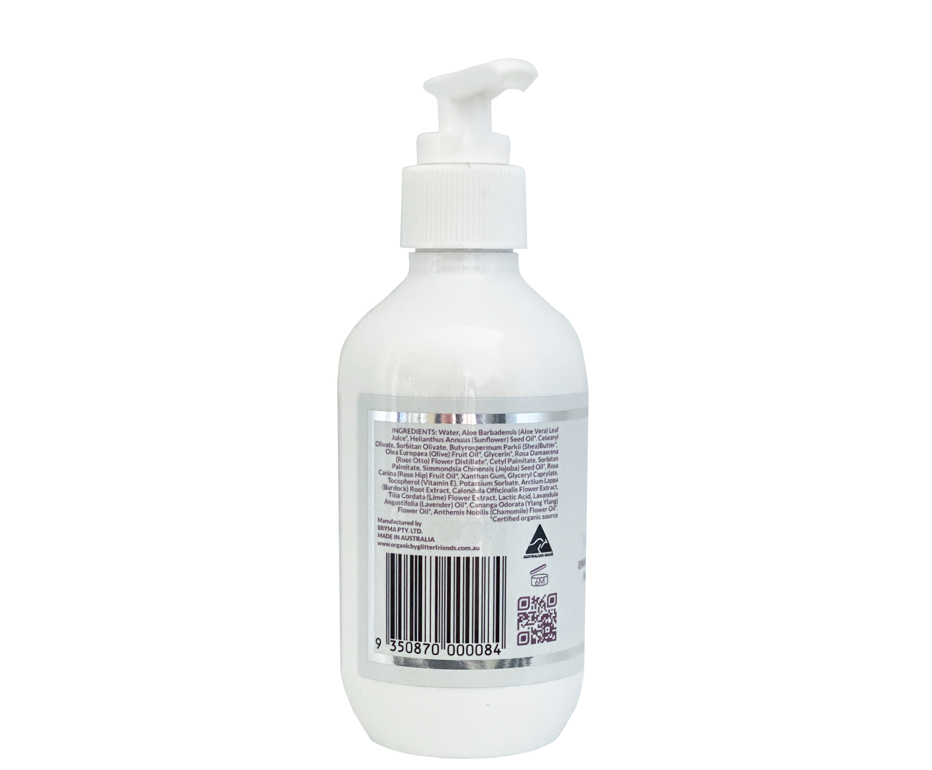 white 200ml lotion pump bottle of multi purpose natural organic face body lotion
