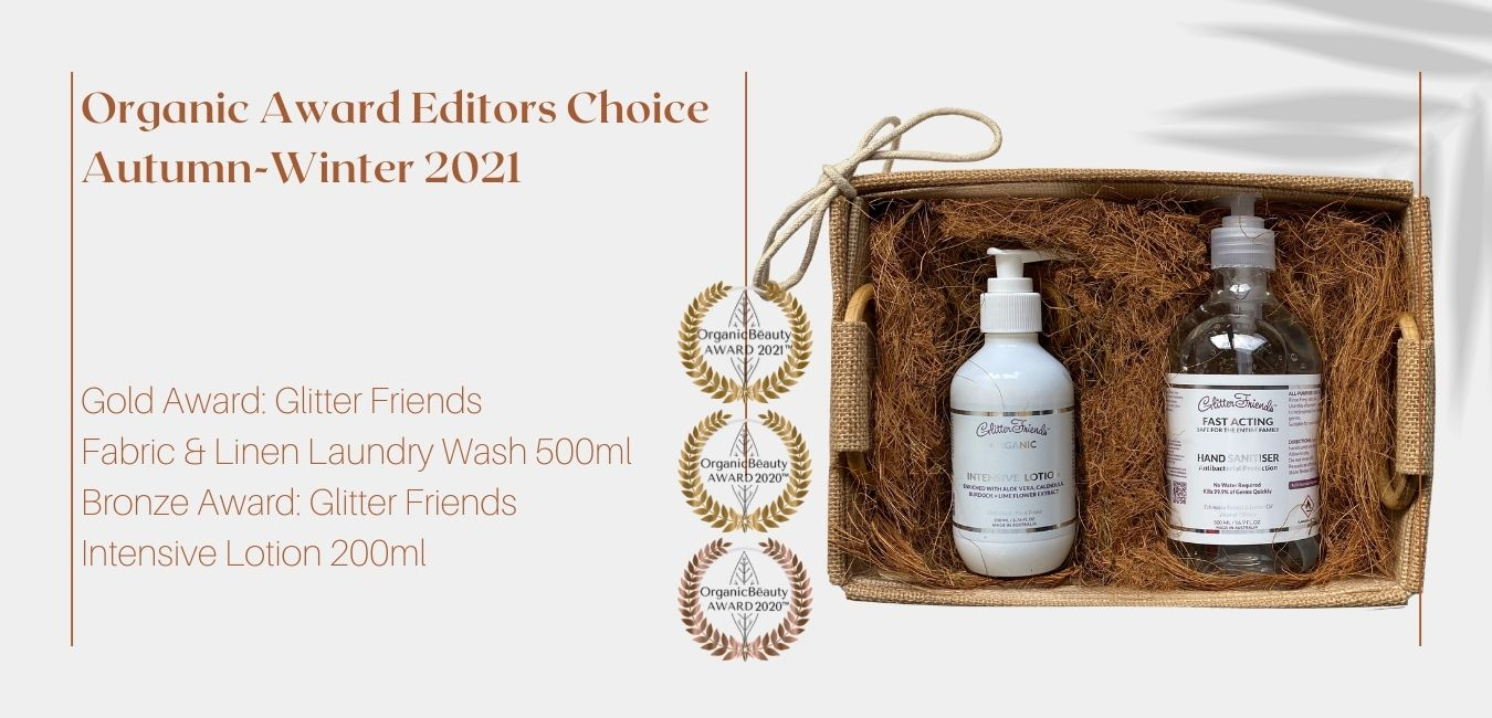 natural hessian gift with a organic intensive lotion and antibacterial hand gel for allergy suffers